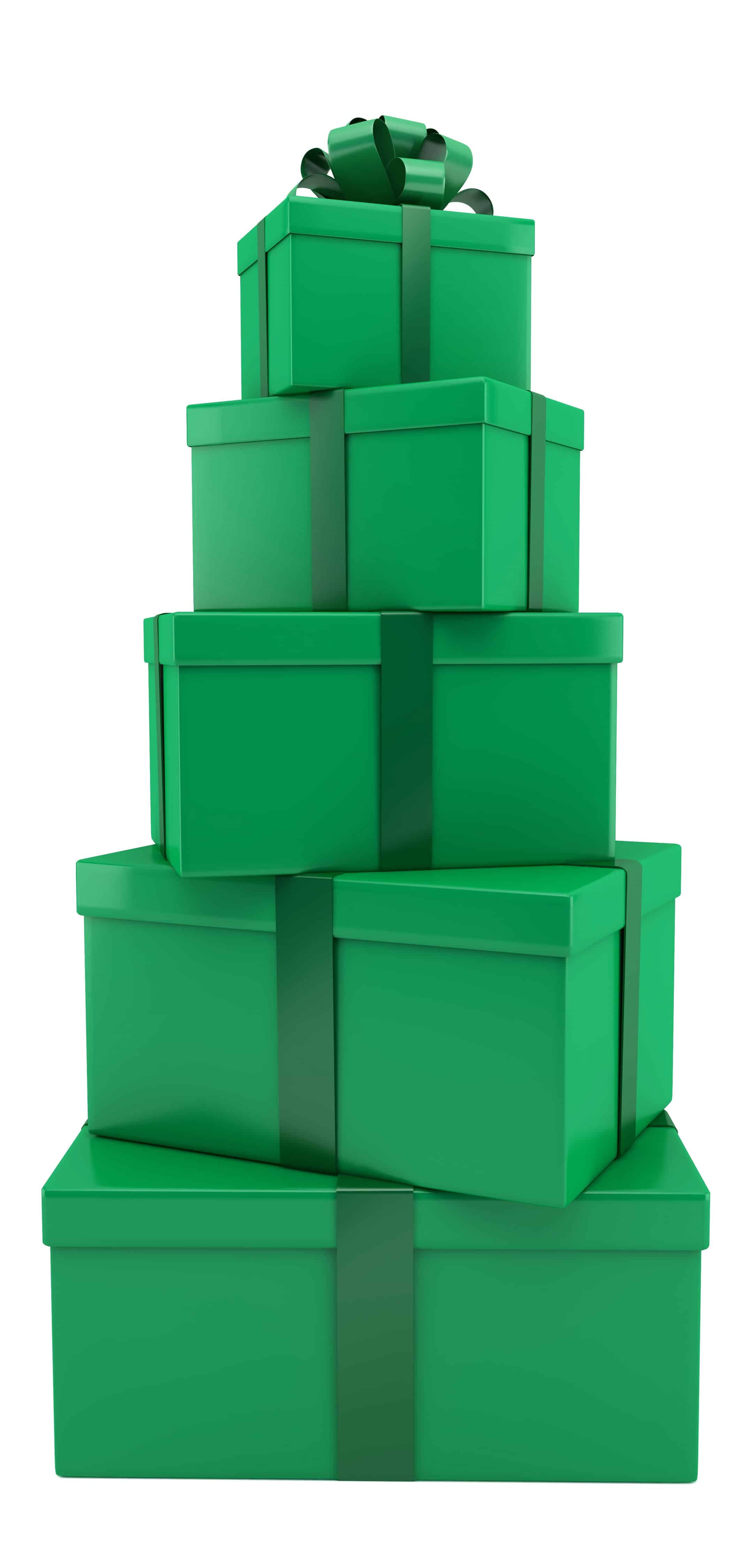 stack of green gifts
