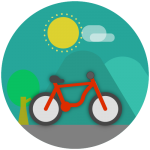 Bicycling through nature icon