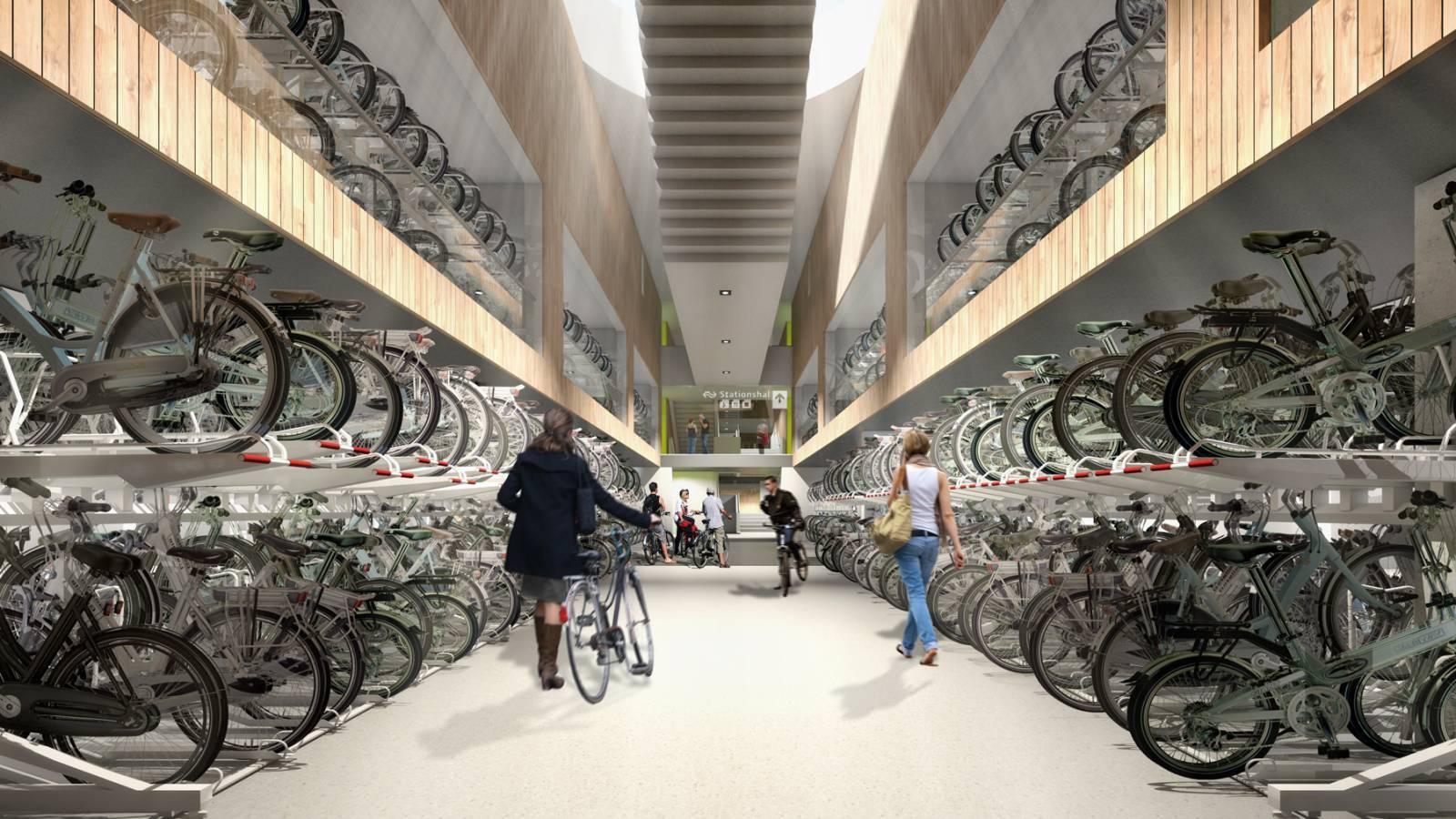 Bicycle Parking Garage In Utrecht, Netherlands